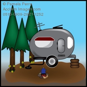 Campsite With a Trailer