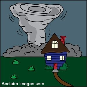 Clip Art of a House In Front Of A Tornado