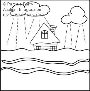 Flooded house coloring page royalty free clip art picture for Flood coloring pages