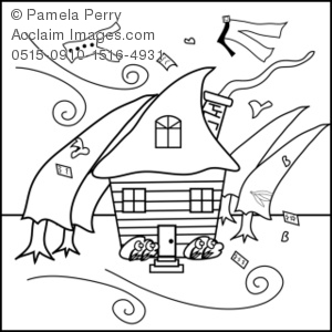 House in a Hurricane Coloring Page Royalty-Free Clip Art ...