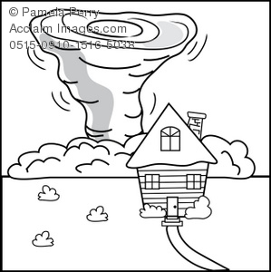 House In A Tornado Coloring Page Royalty Free Clip Art Picture