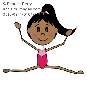 Clip Art Illustration of a Stick Girl Gymnast