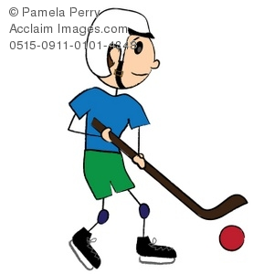 Boy Playing Street Hockey
