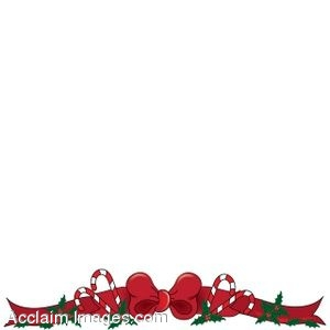 : Clip art of Christmas page border with a red bow and candy canes ...