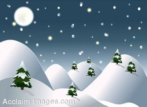 art of a winter scene with snow covered hills and pine trees. Clip art ...