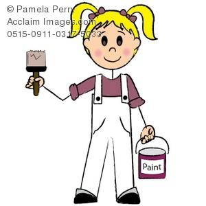 Clip Art Illustration of a Stick Figure-Female Painter