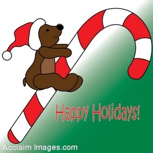 Happy Holidays Bear On A Candy Cane