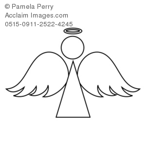 Clip Art Illustration of an Angel Coloring Page