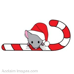 Mouse Behind a Candy Cane
