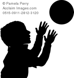 Boy Reaching for a Ball Silhouette