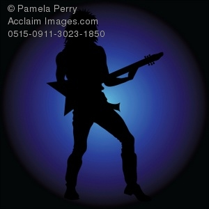Guitar Player Silhouette in a Spotlight