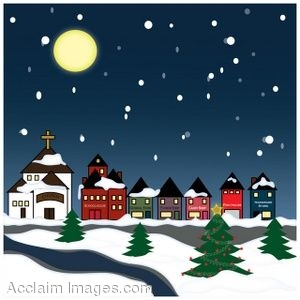Christmas Snow Village Clip Art
