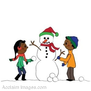 clip art of a snowman being built by ethnic children rh clipartguide com  snowman family clipart free