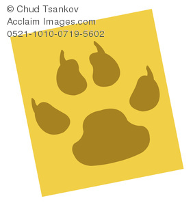 A Safari Colored Paw Print on a Yellow Background.