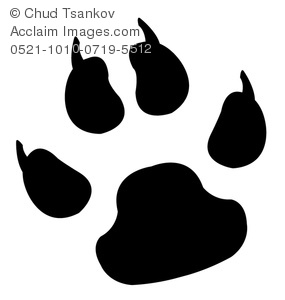 A Black and White Paw Print With Claws.