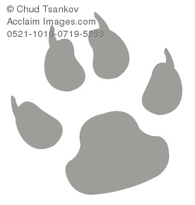 A Gray Clawed Cartoon Paw Print.
