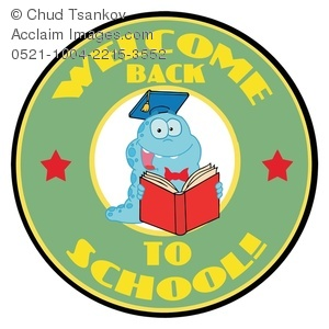 A Smiling Monster Reading a Book in a Welcome Back to School Logo.