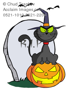 A Black Cat Wearing a Witch's Hat While Sitting on a Halloween Pumpking by a Grave Marker.