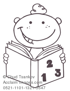 Coloring Page of a Boy Reading a Math Book.