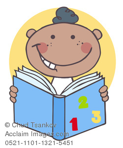 A Grinning Black Boy Reading a Book.