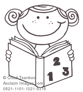 School Coloring Page of a Girl Reading a Book.