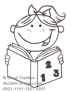 Back to School Coloring Page of a Smiling Girl Reading.