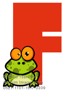 A Cute Cartoon Frog in Front of the Red Letter F.