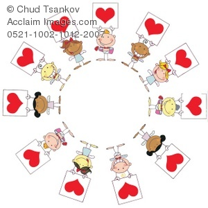Angels in a Circle Holding Red Valentine Cards.