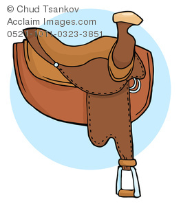 A Cartoon Horse Saddle on a Blue Circular Background.