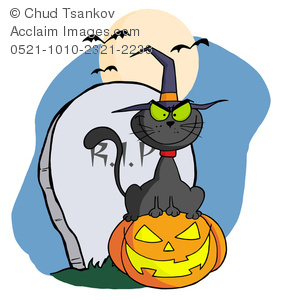 A Cartoon Black Cat Smiling While Sitting in Front of a Grave Stone on a Jack-o-lantern.