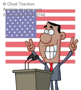 Cartoon Clipart of Barak Obama at a Podium With the American Flag.
