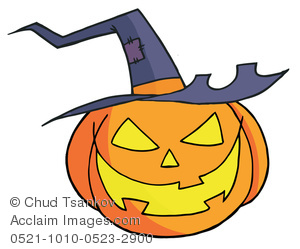 A Smiling Halloween Pumpkin With a Witch Hat.
