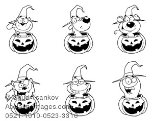 Different Halloween Animals in Jack-o-lanterns in Black and White.