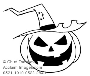 Black and White Grinning Jack-o-lantern Wearing a Pointed Witch's Hat.