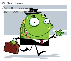 A Waving Green Monster Wearing a Suit and Carrying a Briefcase.