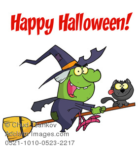 A Cackling Green Witch and Her Black Cat Riding on a Magic Broomstick.