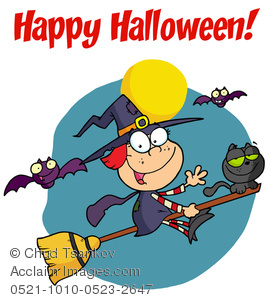 Vampire Bats Flying Around a Witch and Her Cat on a Magic Broomstick.