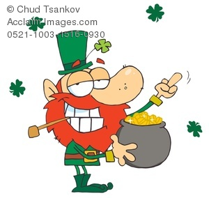 A Leprechaun With a Pipe and a Pot of Gold.