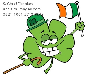 A Grinning Four Leaf Clover Holding the Irish Flag.