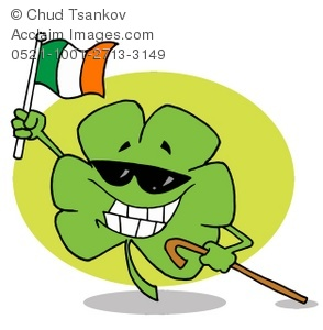 A Four Leaf Clover Wearing Sunglasses Holding the Irish Flag and Smiling.