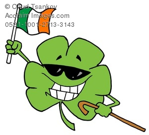 A Grinning Shamrock With Sunglasses Holding the Irish Flag.