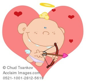 Cupid With His Bow and Arrow and Red Hearts.