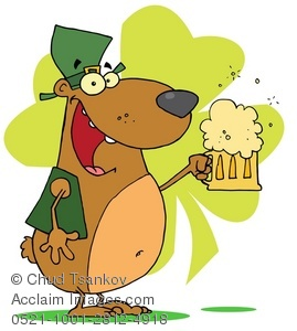 Smiling Irish Dog With a Shamrock and Pint of Beer.