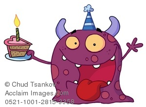 A Purple Blob Monster Holding a Slice of Cake.