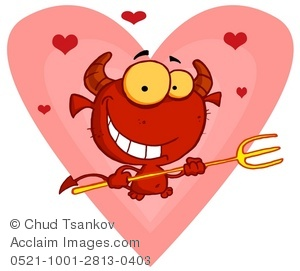 Smiling Devil With a Pitchfork Surrounded by Hearts.