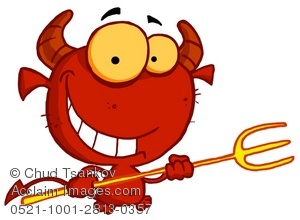 Smiling Devil With a Pitchfork.