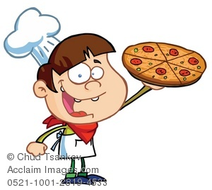 Smiling Chef Holding a Pizza.