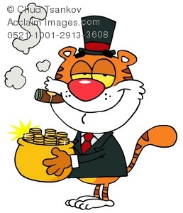 A Rich Tiger Holding a Pot of Gold.