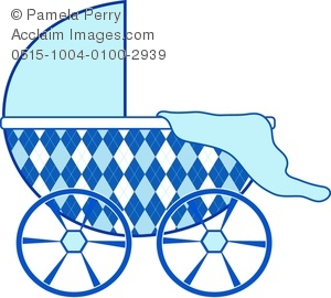 Blue Baby Graphic With Argyle Pattern Carriage