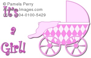 Baby Shower Graphic With Argyle Pattern Carriage